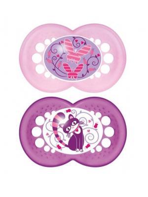 Пустышка силиконовая Mam Original, 2 шт. 6-16 месяцев. Цвет: фиолетовый, розовый