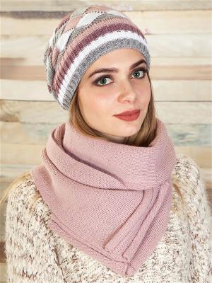 Комплект (шапка, шарф) LORICCI. Цвет: розовый