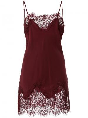 Платье-комбинация с кружевом Gold Hawk. Цвет: красный