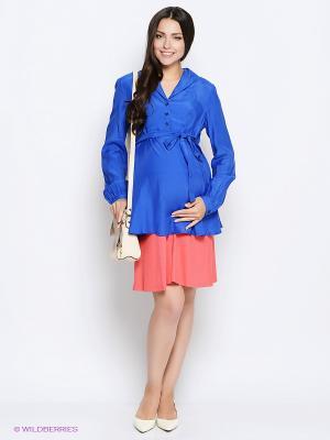 Блузка MammySize. Цвет: синий