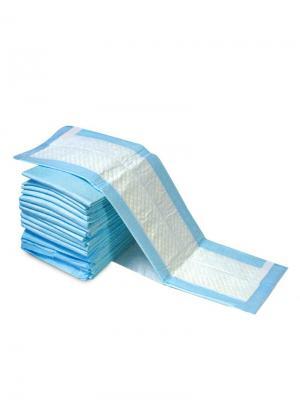 Подстилки впитывающие для туалета на липучках, 60х60см (12шт.). TRIOL. Цвет: белый, голубой