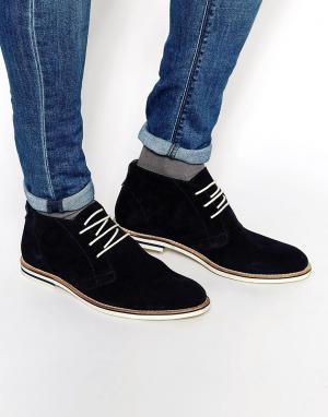 Dune Темно-синие замшевые ботинки чукка. Цвет: синий
