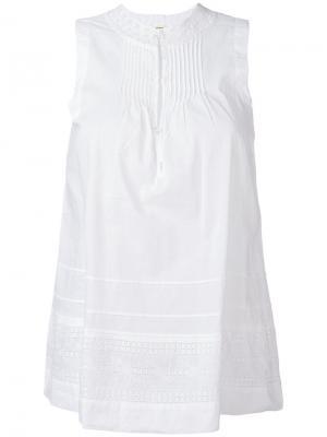 Блузка без рукавов с вышивкой Bellerose. Цвет: белый