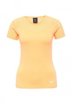 Футболка компрессионная Nike. Цвет: оранжевый