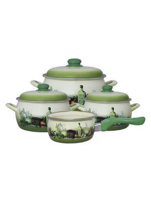 Набор посуды 7 предметов (2,2л, 4л, 5,3л + ковш 1,3л в подарок), мет.крышки METROT. Цвет: зеленый
