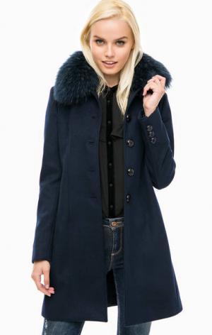 Синее пальто с меховой отделкой Kocca. Цвет: синий