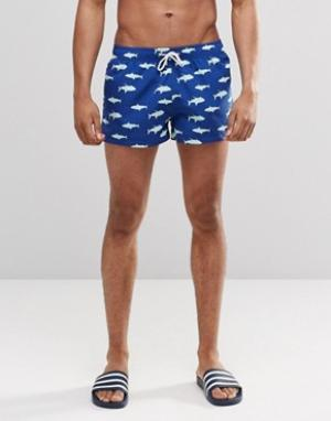 Swells Короткие шорты с принтом акул. Цвет: синий