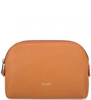 Кожаная косметичка с карманами Picard. Цвет: оранжевый