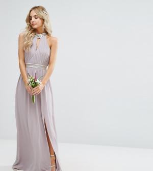 TFNC Petite Свадебное платье макси с отделкой. Цвет: серый