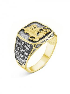 Кольцо Серебро России. Цвет: черный, золотистый, серебристый