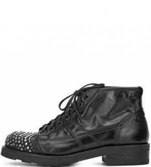 Кожаные ботинки на шнуровке с металлическим декором O.X.S.. Цвет: черный