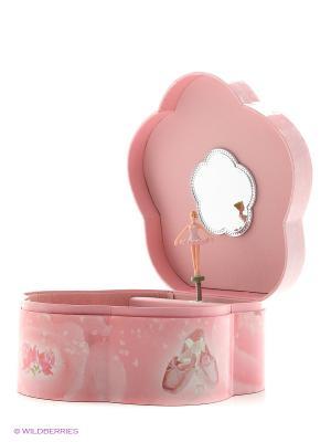 Музыкальная шкатулка с фигуркой в форме цветка Jakos. Цвет: розовый, белый, бледно-розовый