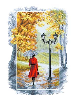 Рисунок на канве  Соло под дождем Матренин Посад. Цвет: красный