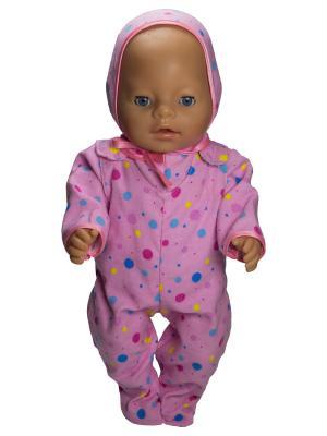 Комплект для пупса 43 см из фланели: ползунки, распашонка и чепчик Модница.. Цвет: бледно-розовый