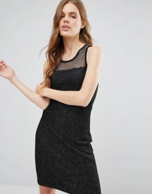 Jasmine Платье миди с верхним слоем из сетки. Цвет: черный