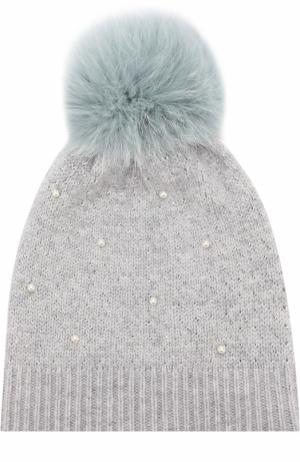 Шерстяная вязаная шапка с меховым помпоном и декором Yves Salomon Enfant. Цвет: голубой