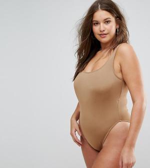 Monif C Слитный купальник цвета хаки. Цвет: коричневый