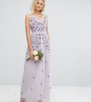 Amelia Rose Платье макси в винтажном стиле с вышивкой и отделкой. Цвет: фиолетовый