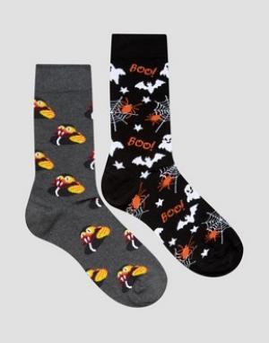 Urban Eccentric Набор из 2 пар носков с хеллоуинским принтом Halloween. Цвет: мульти