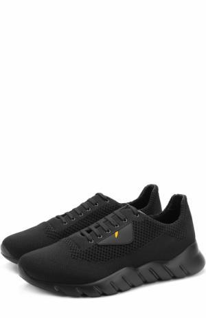Текстильные кроссовки на шнуровке с отделкой Bag Bugs Fendi. Цвет: черный
