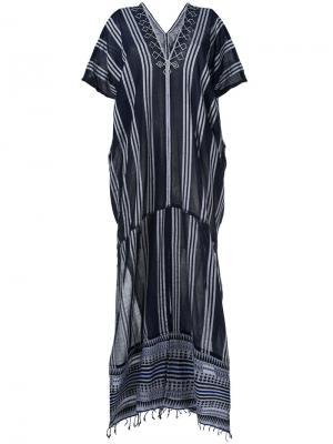Полосатое платье-кафтан Lemlem. Цвет: синий