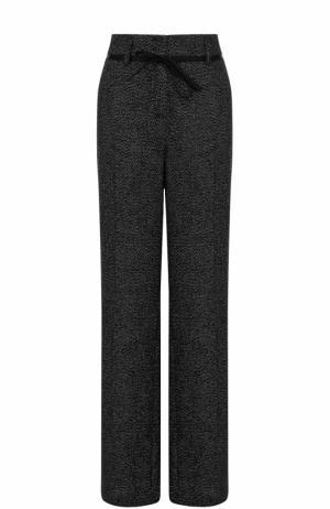 Расклешенные брюки с металлизированной нитью и поясом Ann Demeulemeester. Цвет: черный