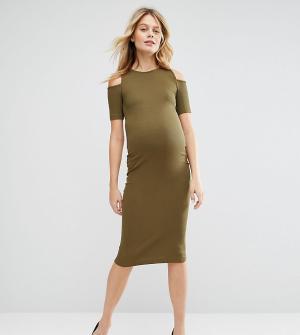 ASOS Maternity Облегающее платье в рубчик с открытыми плечами для беременных Mat. Цвет: зеленый