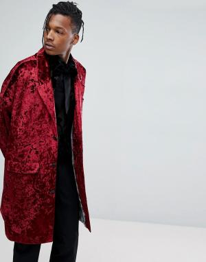 Noose & Monkey Легкое бархатное пальто. Цвет: красный