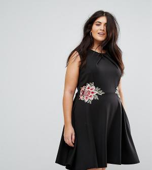 Praslin Приталенное платье с цветочной вышивкой. Цвет: черный