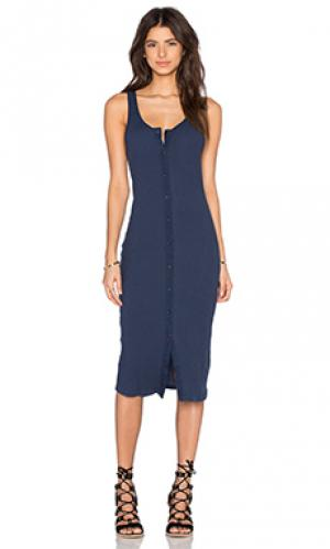 Платье в рубчик на пуговицах LACAUSA. Цвет: синий