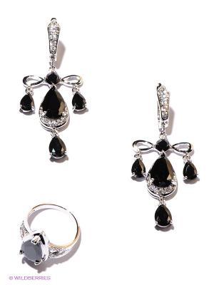 Комплект Lovely Jewelry. Цвет: серебристый, черный