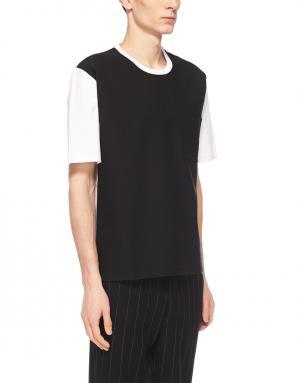 Хлопковая футболка Ami. Цвет: черный, белый