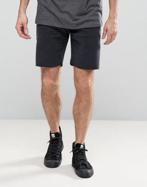 Selected Homme Джинсовые шорты слим с необработанным краем. Цвет: черный