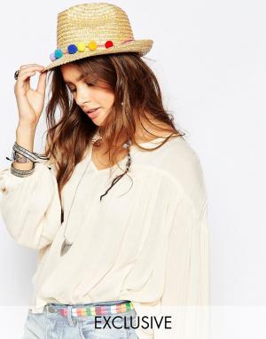 Catarzi Соломенная шляпа с помпонами. Цвет: бежевый