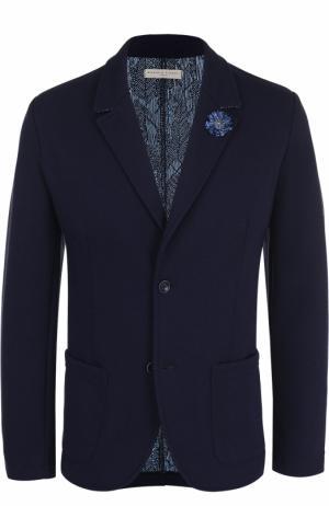 Однобортный приталенный пиджак с декоративной отделкой Daniele Fiesoli. Цвет: темно-синий