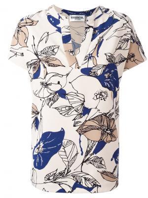 Блузка с цветочным рисунком и V-образным вырезом Essentiel Antwerp. Цвет: телесный