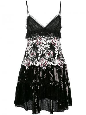 Платье с пайетками и цветочным принтом Giambattista Valli. Цвет: чёрный