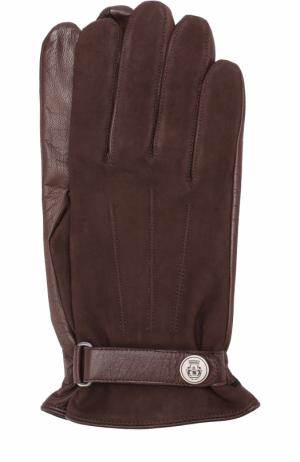 Кожаные перчатки с ремешком Roeckl. Цвет: темно-коричневый