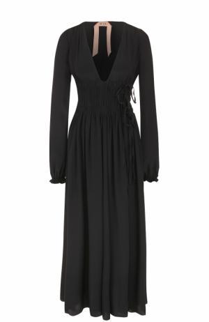 Приталенное платье-макси с V-образным вырезом No. 21. Цвет: черный