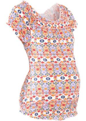 Мода для беременных: футболка с вырезом-кармен (кремовый рисунком) bonprix. Цвет: кремовый с рисунком