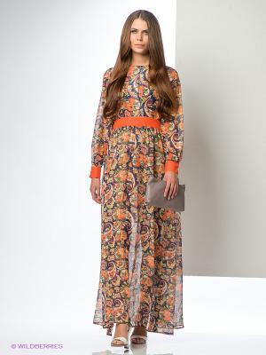 Платье ELENA FEDEL. Цвет: оранжевый, зеленый, фиолетовый