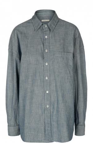 Удлиненная блуза свободного кроя с накладным карманом 6397. Цвет: синий