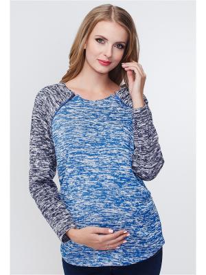 Джемпер на флисе для беременных и кормящих TUTTA MAMA. Цвет: серый меланж, голубой