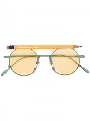Солнцезащитные очки в круглой оправе Henrik Vibskov. Цвет: жёлтый и оранжевый