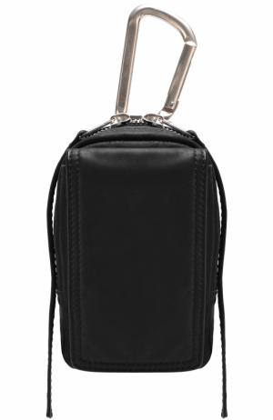 Кожаный кошелек на молнии с карабином Rick Owens. Цвет: черный