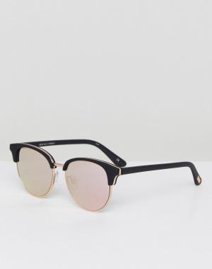 Le Specs Черные солнцезащитные очки в стиле ретро Deja Vu. Цвет: черный