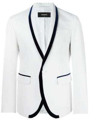 Классический пиджак с лацканами-шалькой Dsquared2. Цвет: белый