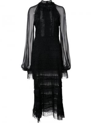 Кружевное платье с прозрачными рукавами Jonathan Simkhai. Цвет: чёрный