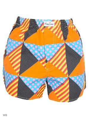 Трусы Happy Socks. Цвет: черный, голубой, оранжевый