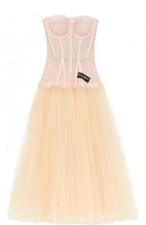 Платье-бюстье с многослойной пышной юбкой Dolce & Gabbana. Цвет: бежевый